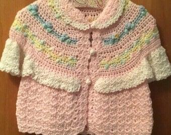 Little girls hand crochet sweater