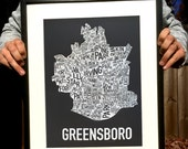 Greensboro North Carolina Screen Print Neighborhood Map