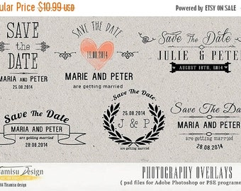 SALE Save The Date Photography Overlays, Photoshop Overlays, psd Templates, v.5, INSTANT DOWNLOAD