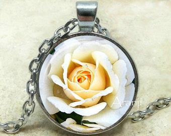 White rose art pendant, rose necklace, white rose pendant, rose jewelry, ivory rose necklace, ivory rose pendant, rose, Pendant #PL155P