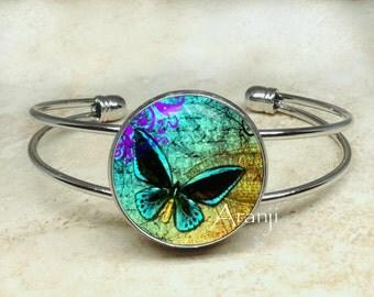 Blue butterfly bracelet, butterfly bracelet, iridescent butterfly bracelet, butterfly jewelry