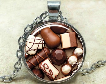 Chocolate pendant, chocolate necklace, chocolate jewelry, chocolate, candy necklace, sweet necklace, Pendant#HG180P