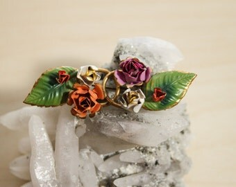 Colorful Hand Painted Cold Enamel Pastel Flower Arrangement Brooch Made In Austria