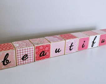 Wooden Blocks // 'beautiful' // Girl's blocks // Pink Decor // Girls Room // Baby Gift