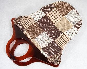 10 Dollar Sale---Vintage 70's Patchwork Fabric Tote Bag w/ Lucite Handles