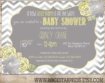 Grey and Yellow Baby Shower Invitation, Gender Neutral Shabby Chic Invite, Printable, Digital Download _1207