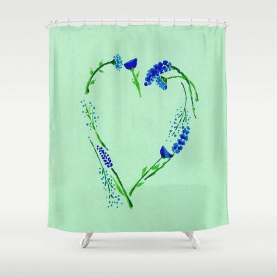 Items Similar To Mint Green Floral Heart Shower Curtain Light Green Curtain Floral Curtain