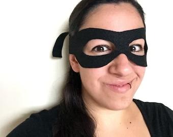 Superhero Adult Mask Black - Tie-On Costume Party Mask