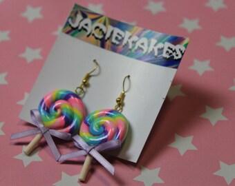 Pastel Swirl Lollipop Earrings  - Kawaii Sweet Fairy Kei