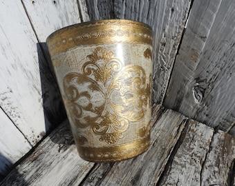 Antique Vintage Florentine Italy Italian Waste Basket Trash Can White Gold