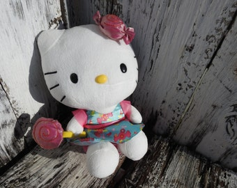 Vintage Hello Kitty Candy Stuffed Animal Pink Blue Toy