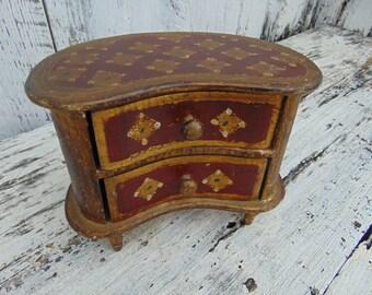 Antique Vintage Florentine Kidney Jewelry Box Wooden Italy Italian