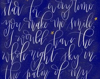 Hand-written Stars iPad Art Print