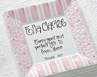 Personalized Birth Announcement Plate  'Every Good and Perfect Gift is from Above'