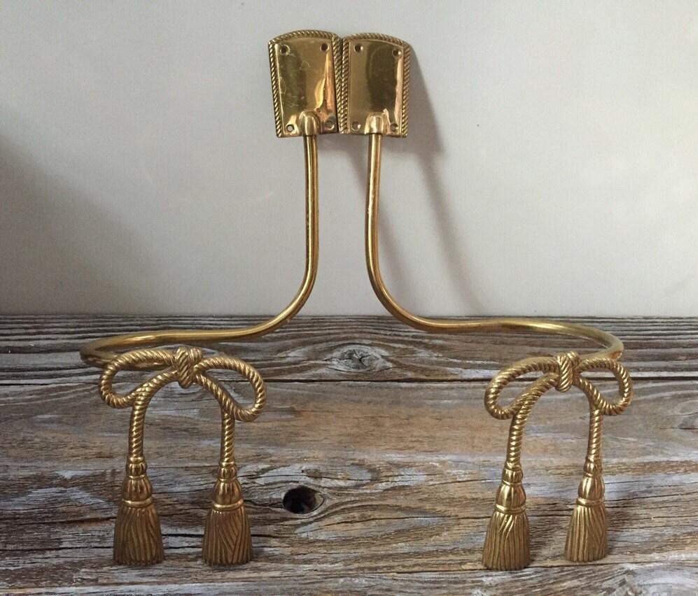 Brass Tassel Bow Curtain Drapery Tie Backs Vintage Window