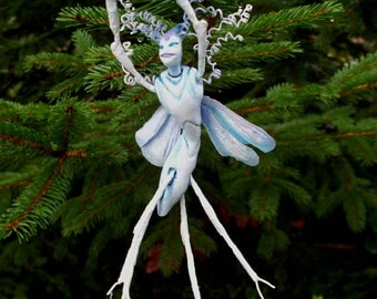 "Winter Wood Sprite Fairy ""Wysteria"" - Hand Sculpted Figurine - OOAK - BEAUTIFUL!!"