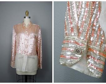 Oscar de la Renta Champagne Sequin Beaded Blouse // Fully Embellished Striped Silk Top Size 10