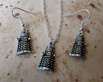 Exterminate Robot Charm Necklace or Earrings