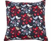Pillow cover grey white blue red Birds Hearts Scandinavian Design Decorative pillow for Throw pillows Floor Cushions Accent Pillows