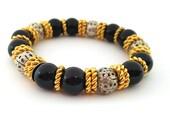 Vintage Bracelet - Black Gold Beaded Stretch Bracelet - Gift for Her / C250
