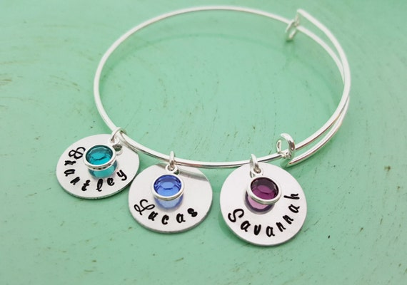 Personalized Name Bracelet Childrens Names Adjustable Bangle