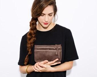 Crossbody Leather Bag - Brown leather purse - Shoulder bag - Zipper bag - Detachable Pouches - Removable Strap