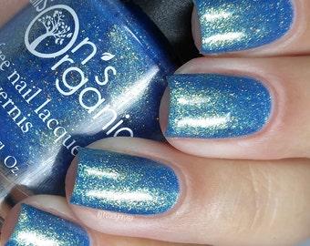 Blue Nail Polish - Glitter Nail Polish - Vegan Nail Polish - Wizards Collection - Wise - Cruelty Free - Rainbow - Nails - Gifts Under 15