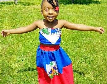 Custom Haiti Flag Maxi Skirt for Child Haitian  Haitian Day Outfit *Skirt Only *Other Countries Produced by Request