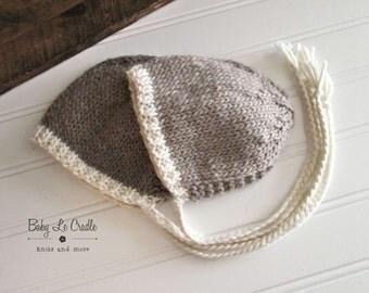 Newborn Bonnet - Eco Knit Newborn | Photo Prop - Knit Hat - Cream Brim