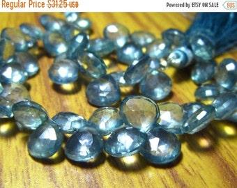 "MEGA SALE Teal Blue Mystic Natural Quartz Faceted Heart Briolette- 8"" Strand -Stones measure -7-8mm"