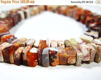 """BIG SALE 2 Strands-Mexican Opal Smooth Cube Heishi- 16""""Strand-Stone measures -5mm"""