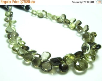 "BIG SALE Bio Lemon Quartz Faceted Heart Briolette- 8"" Strand -Stones measure- 6-8mm"
