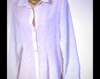 Laura Ashley embroidered button down shirt 14