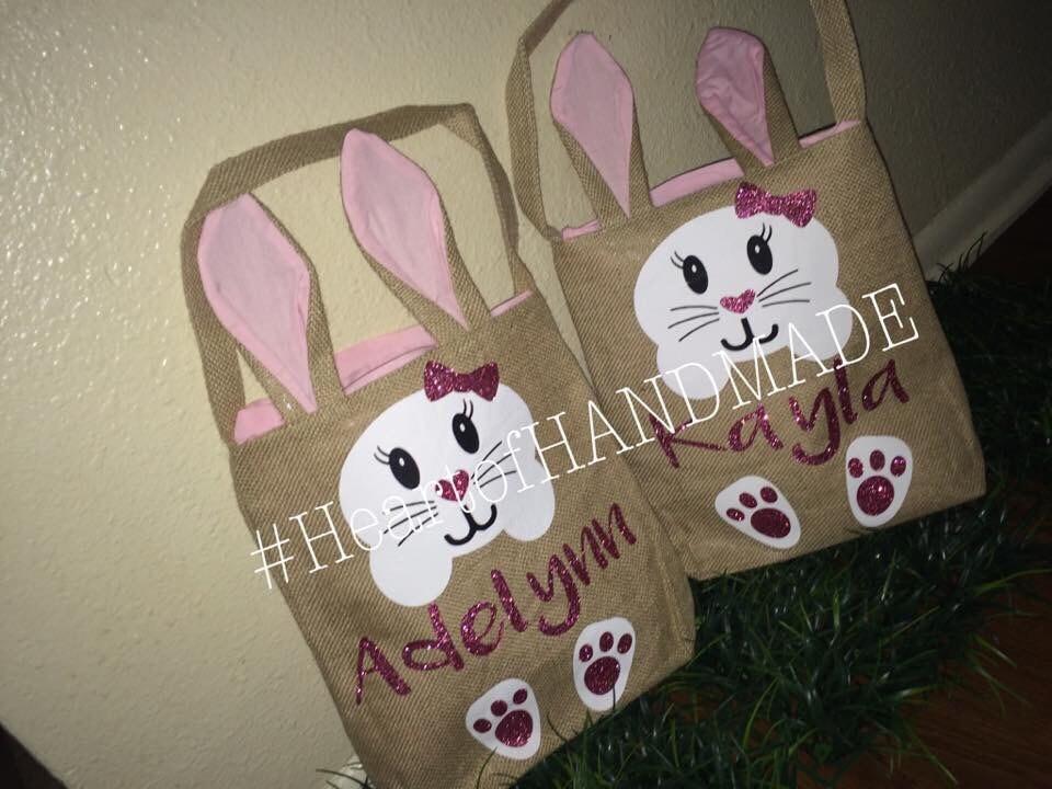 Custom easter bunny ear burlap baskets - Custom made easter baskets ...