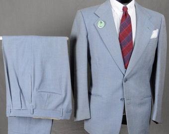 40s 50s Light Blue SB Birdseye Suit - Classic Look - Medium