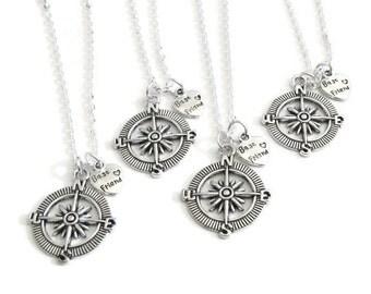 4 Best Friends Compass Necklaces, 4 BFF Necklaces, 4 Best Friends Necklaces, 4 Best Friend Jewelry