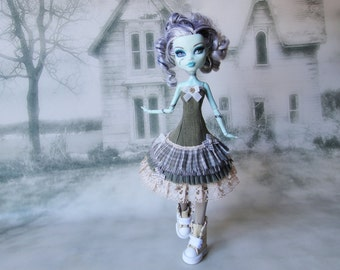 Green and beige romantic shabby Alice  dress with leg warmers Hand Made fits Monster High doll