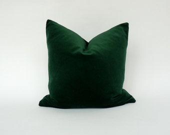Forest Green velvet cushion case // Hunter Green Velvet Pillow cover // dark green velvet