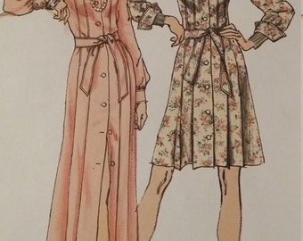 UNCUT and FF Pattern Pieces Vintage Simplicity 5909 Sewing Pattern Size 12 One-Piece Dress in Two Lengths