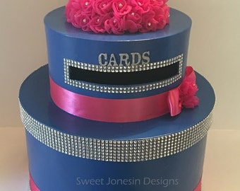 Blue & Hot Pink Wedding Card Box Bling Ribbon