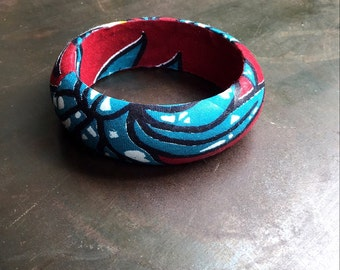 African fabric wrapped wooden bangle M thin