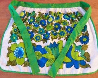 Vintage Retro FLOWER POWER Green/Blue Terry Terrycloth Half-APRON Excellent