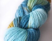 "Hand Dyed Yarn Baby Alpaca and Silk . DK . ""Sea Foam"" . 300 yards . 100 g . Super Soft . Aqua . Blue . Golden Ochre"
