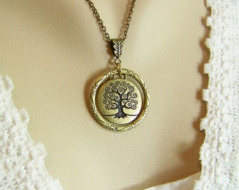 Tree of Life Necklace, Circle of Life Necklace, Tree of Life Charm, Circle of Life, Tree Charm, Gold Tree, Family Tree Necklace, Tree