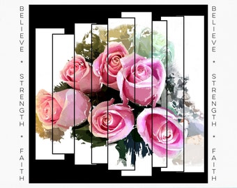 Greeting Cards for Breast Cancer Patients & Survivors, floral painting, roses, iPad paintings, Card for Cancer Survivor, Pink Ribbon Art