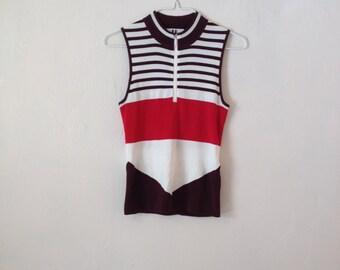 Thick Knit Multi Stripe Colour Block Sleeveless Tank Top Minimal Sporty