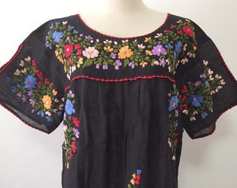 Embroidered Mexican Blouse Cotton Top In Black, Boho Blouse, Hippie Gypsy Top Bohemian Style
