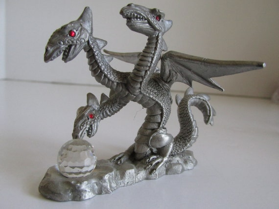 3 headed dragon dungeons and dragons spoontiques pewter dragon - Pewter dragon statues ...