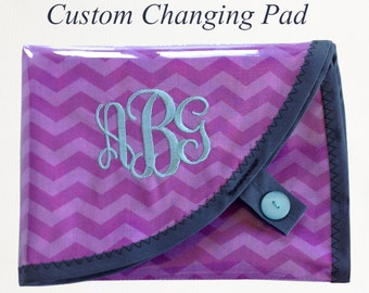 NEW!! Custom Diaper Changing Pad with easy Velcro open.Waterproof vinyl travel changing mat.
