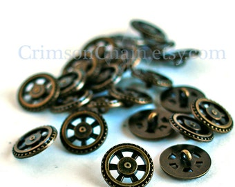 Steampunk Buttons - Antique Brass Sprocket Wheel - From Crimson Chain Leatherworks